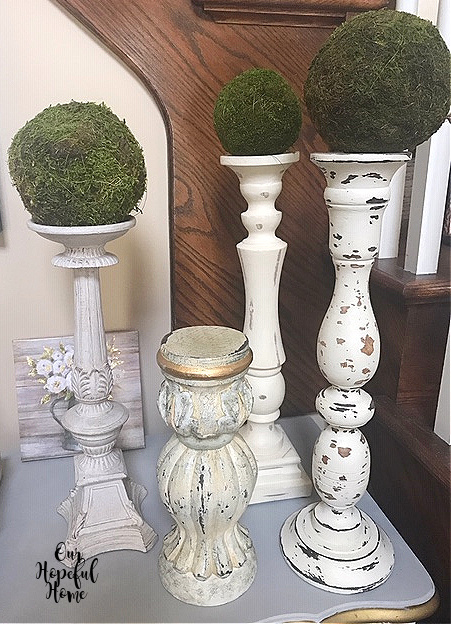 4 large wooden chippy shabby candlesticks moss balls