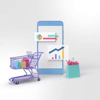 3D Cell phone with data and shopping cart and shopping bags