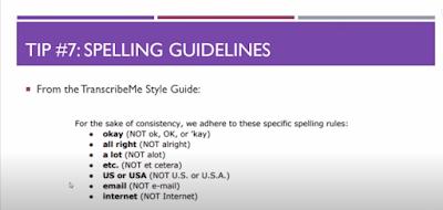 TranscribeMe Exam - Tip 7: Spelling Guidelines