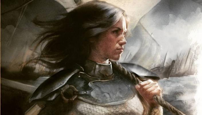 Imagem: ilustração de Nymeria, uma mulher de cabelos pretos e pele clara, com uma armadura, segurando firme uma corda em um navio, com outras velas de navios ao fundo.