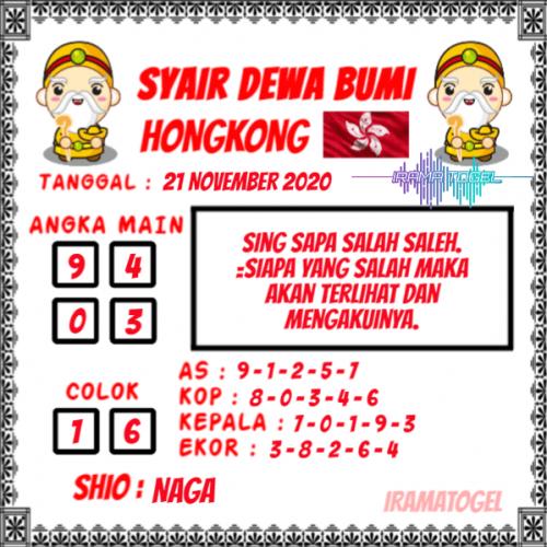Syair HK Sabtu 21 November 2020 -