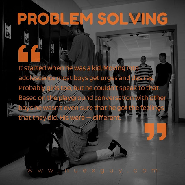 A quote from the PROBLEM SOLVING short fiction piece is laid over the black and white image of a high school kid opening a locker.
