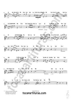 Hoja 2 Partitura Fácil con Notas en Letras de Flautas, Violín, Saxofones, Clarinetes, Cornos, Trompetas... y instrumentos en Clave de Sol Spanish Notes Sheet Music for Treble Clef  Más Partituras PDF/MIDI con Notas aquí