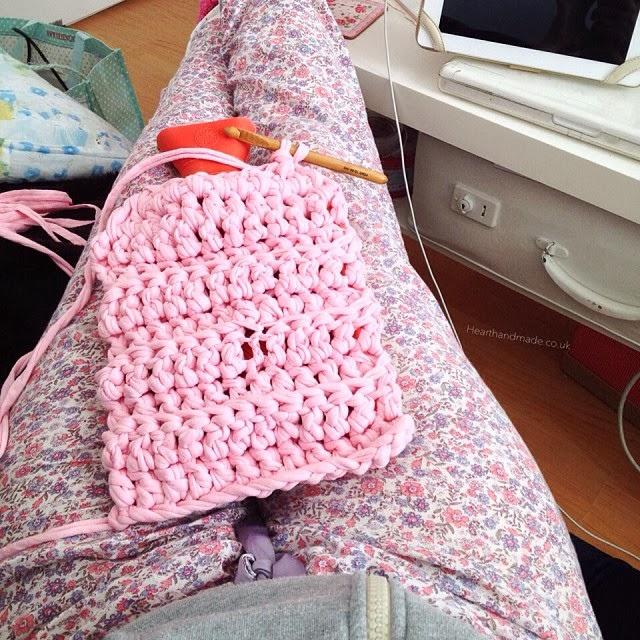 Crochet hot water bottle in progress using zpagetti yarn