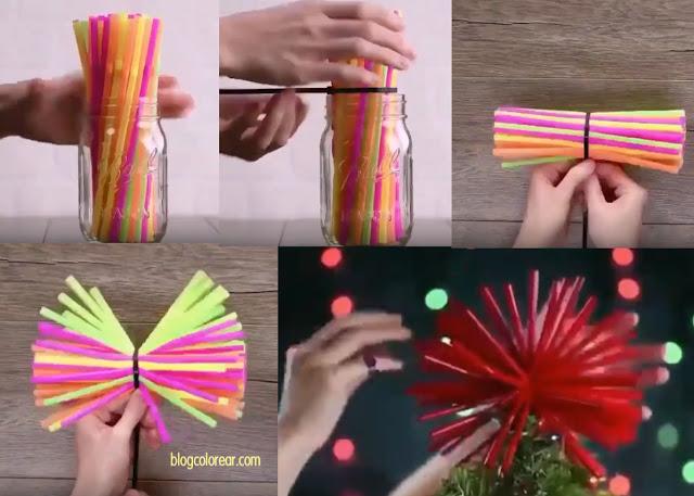Estrella para el árbol hecha con pajitas