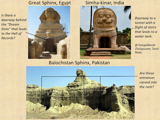 Chambers and Tunnels associated with Sphinx sculptures in Egypt and India