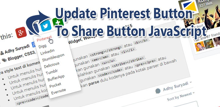 Update Pinterest Button To Share Button JavaScript