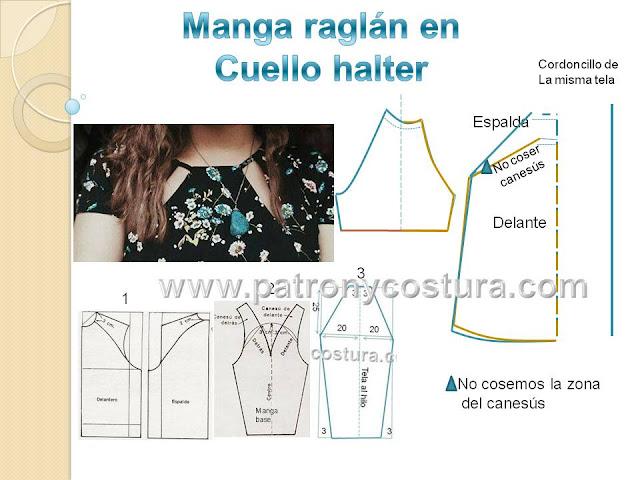 www.patronycostura.com/Manga raglán y cuello halter DIY.Tema 186