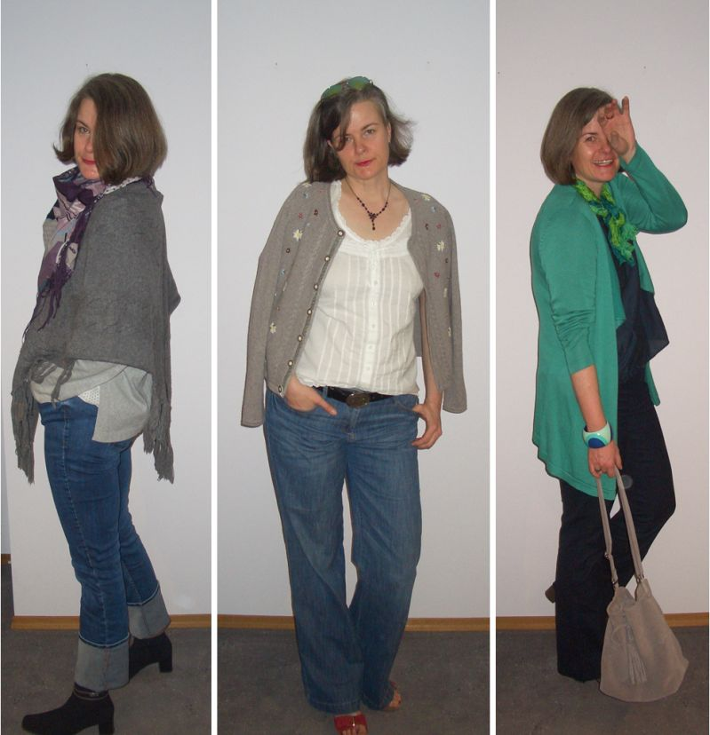 Verschiedene Outfits ü40 große Frau