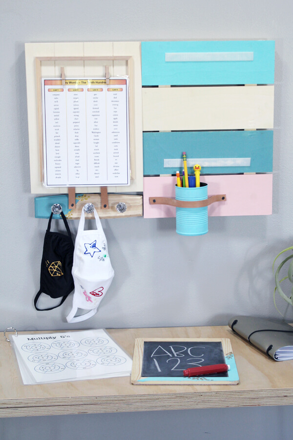 Make a DIY Command Center for all your back-to-school organizational needs using Plaid products. This fabulous command center is great for mother's needing to stay organized and on schedule. It's great for students keeping track of their assignments and homework. Teachers can use it to keep on top of the topics of each day and store some extra masks.
