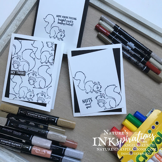 By Angie McKenzie for Stampin' Dreams Blog Hop; Click READ or VISIT to go to my blog for details! Featuring the Nuts About Squirrels Photopolymer Stamp Set from the Stampin' Up! July-December 2021 Mini Catalog; #anyoccasioncards #simplestamping #funtocolor #coloringfun #backtoschoolideas #stampinup #nutsaboutsquirrels #blackandwhite #diycrafts #handmadecards #stampindreamsbloghop #naturesinkspirations