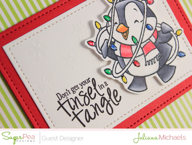Tinsel In A Tangle Christmas Card by Juliana Michaels featuring Tinsel In A Tangle Stamp Set by Sugar Pea Designs