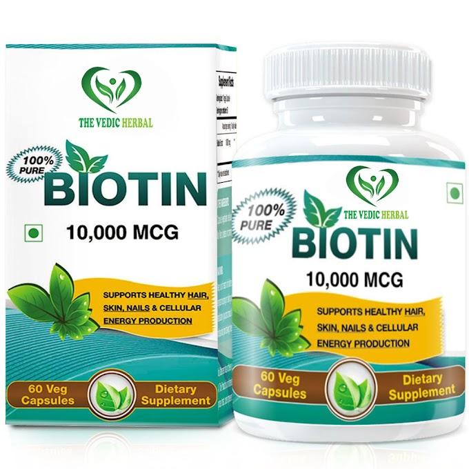 TheVedicHerbal BIOTIN FOR HEALTHY HAIR, SKIN & NAIL CARE - 10,000 MCG - 60 VEG CAPS -