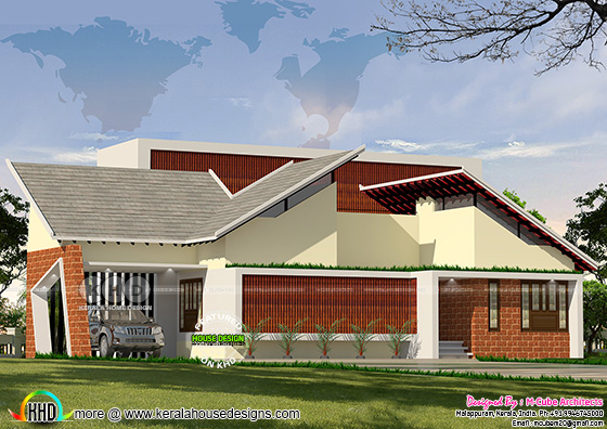 Butterfly slab contemporary home design in Kerala