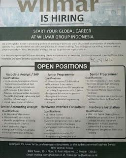 Lowongan pekerjaan 6 Lowongan di Wilmar Group Indonesia dengan kriteria sebagai berikut
