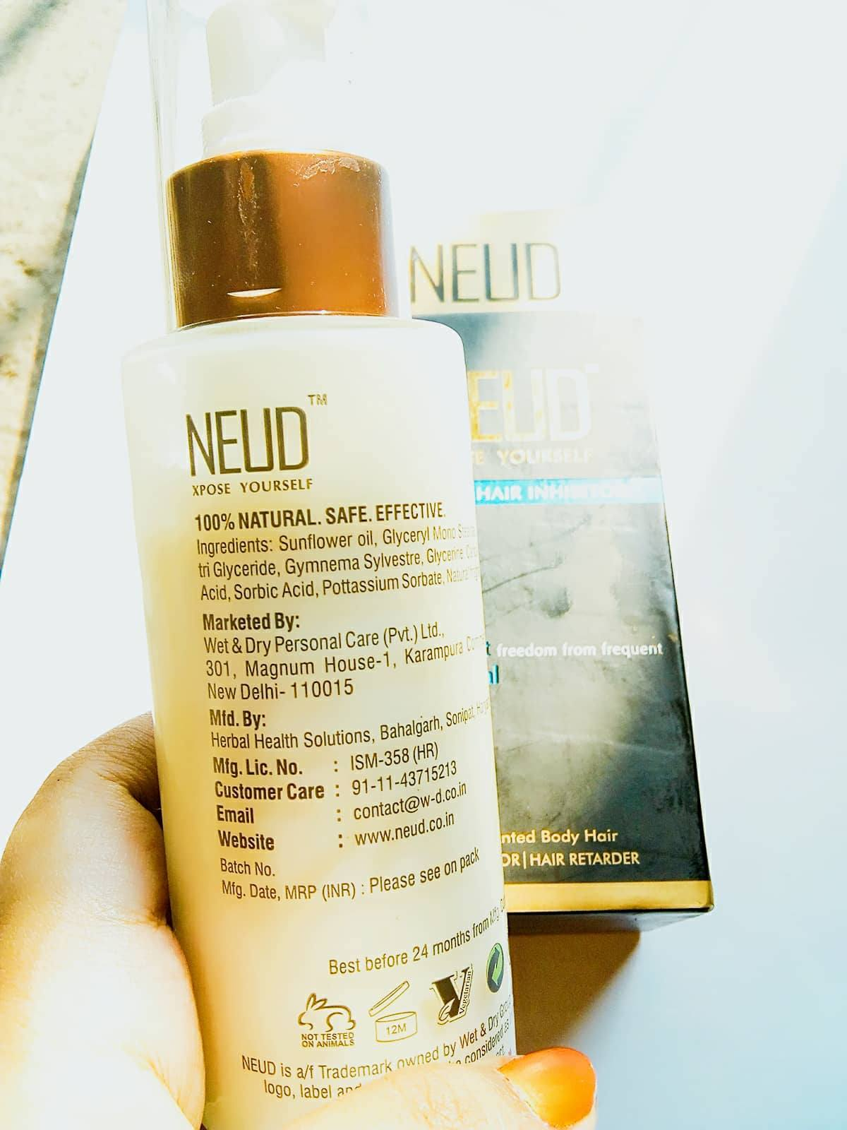 Waxing Neck Hair: Beauty & Beyond: FIRST IMPRESSION: NEUD NATURAL HAIR INHIBITOR