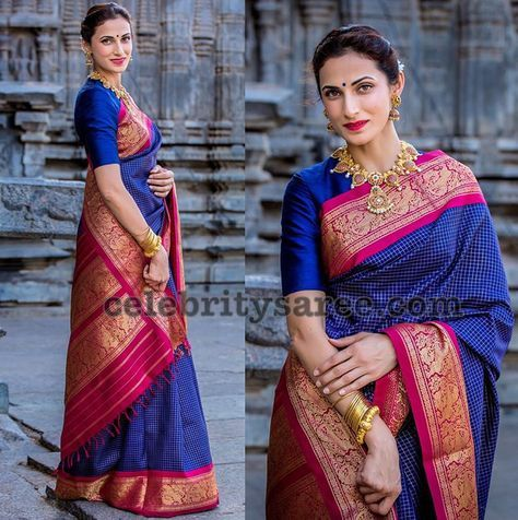 Shilpa Reddy Blue and Pink Gadwal Saree