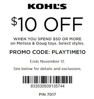 Kohls coupon $10 off $50 Melissa and Doug Toys
