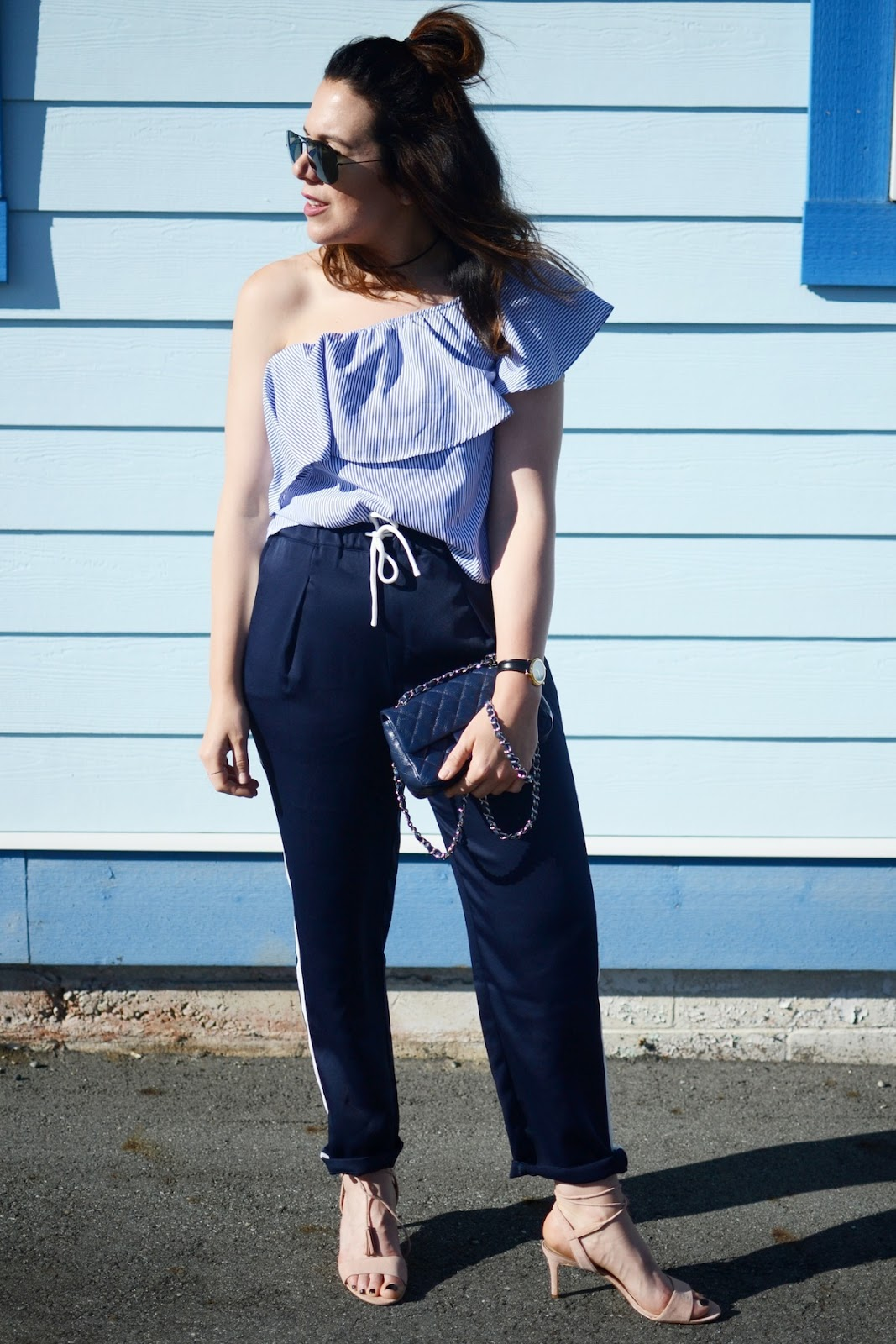 Forever 21 off the shoulder shirt Bench Canada track pants blogger outfit vancouver aleesha harris