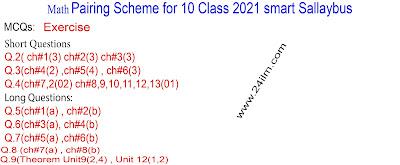 10th Class Math paper schme 2021