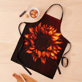 A sunflower image on an apron