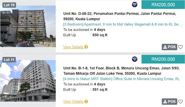 Rumah di Kuala Lumpur di Lelong bermula pada harga RM200 ribu