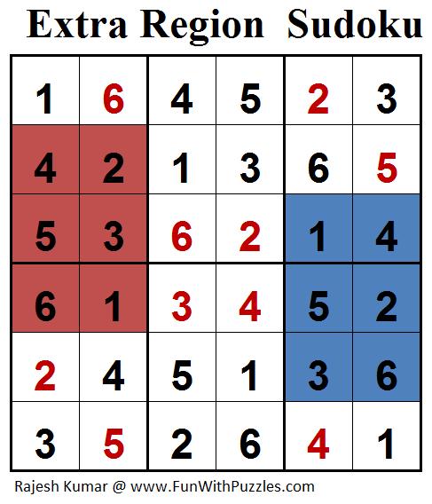 Extra Region Sudoku (Mini Sudoku Series #74) Solution