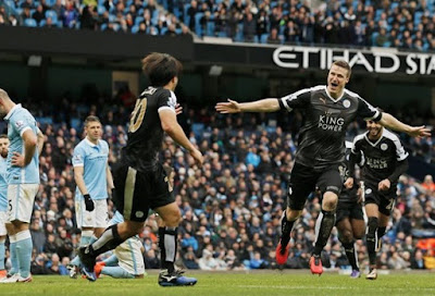 Manchester City FC vs. Leicester City FC 1-3. English League Champions Ready Stare, Robert Huth