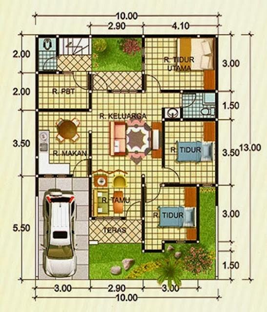 Denah rumah minimalis type 90