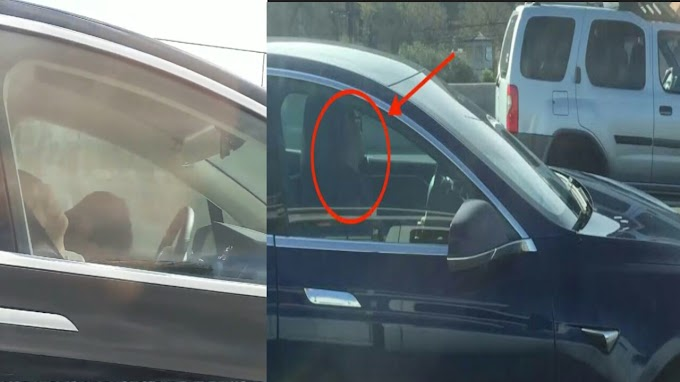 Tesla Car Driver Spotted While Sleeping With 96 kmph Speed On Freeway