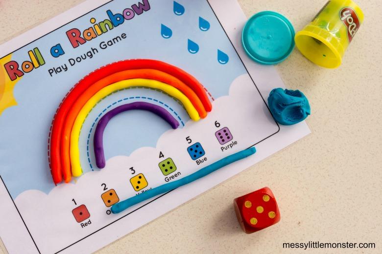 Roll a rainbow printable playdough mat