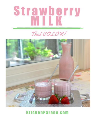 Strawberry Milk ♥ KitchenParade.com, not a smoothie, almost a strawberry milkshake.