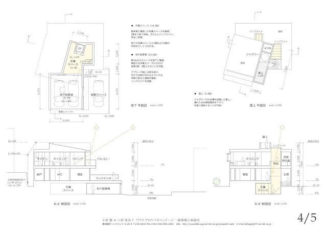 鎌倉の海を望む白い散歩道のような住まい 駐車スペースと屋上 断面計画