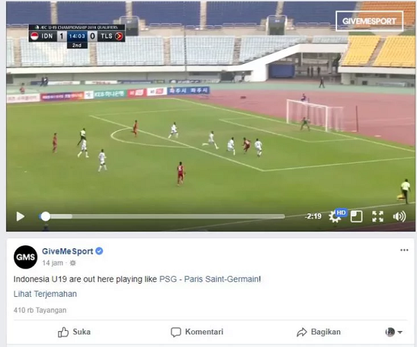Media Inggris Sebut Timnas U-19 Main Seperti PSG
