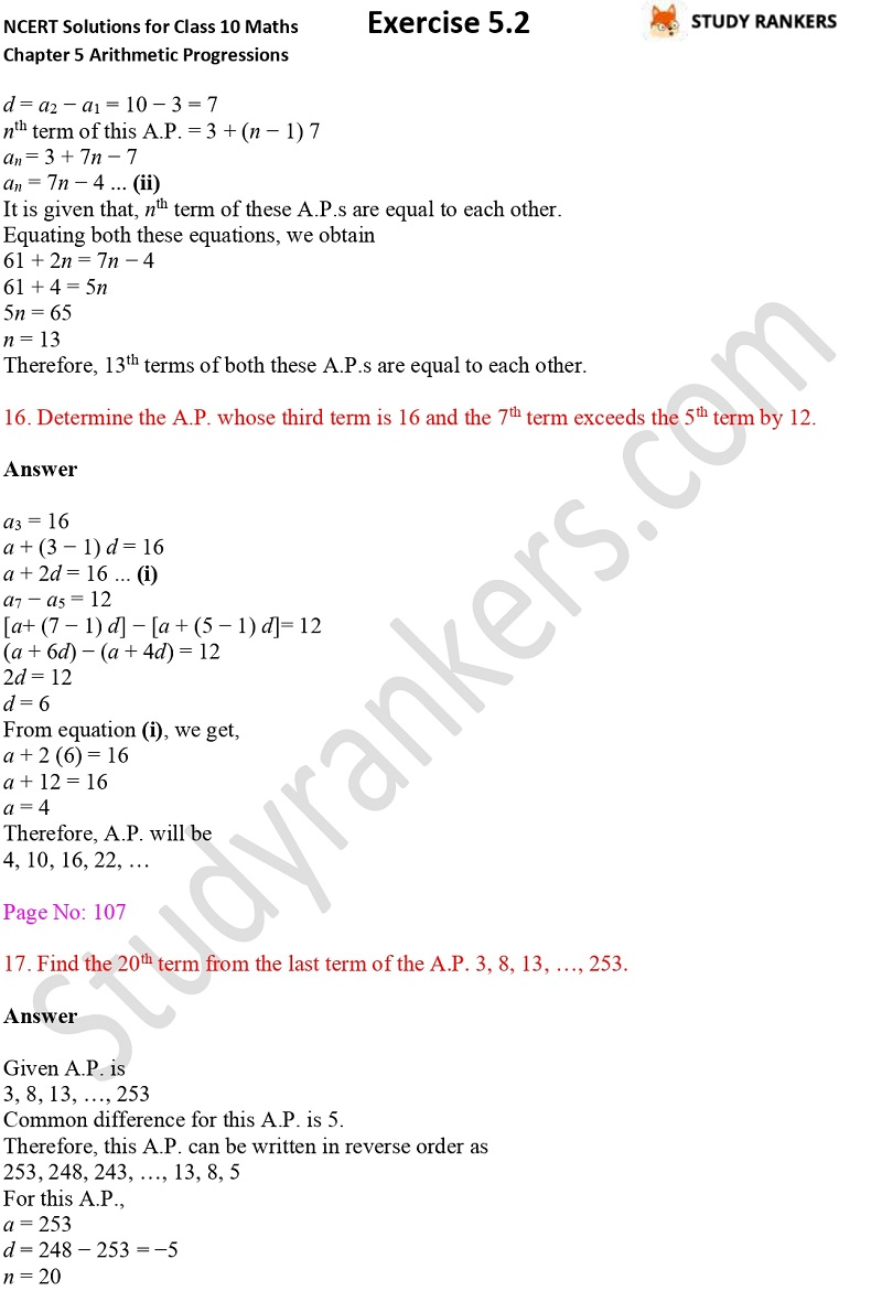 NCERT Solutions for Class 10 Maths Chapter 5 Arithmetic Progressions Exercise 5.2 Part 12
