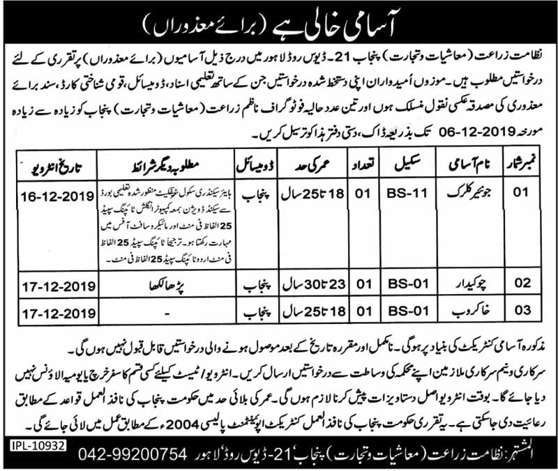 Directorate Of Agriculture Punjab Jobs