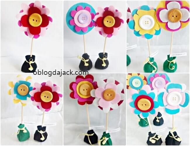 DIY Flores em feltro com botão