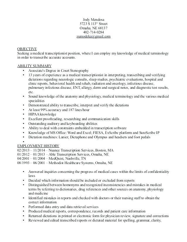 lebenslauf vorlage site medical transcription resume