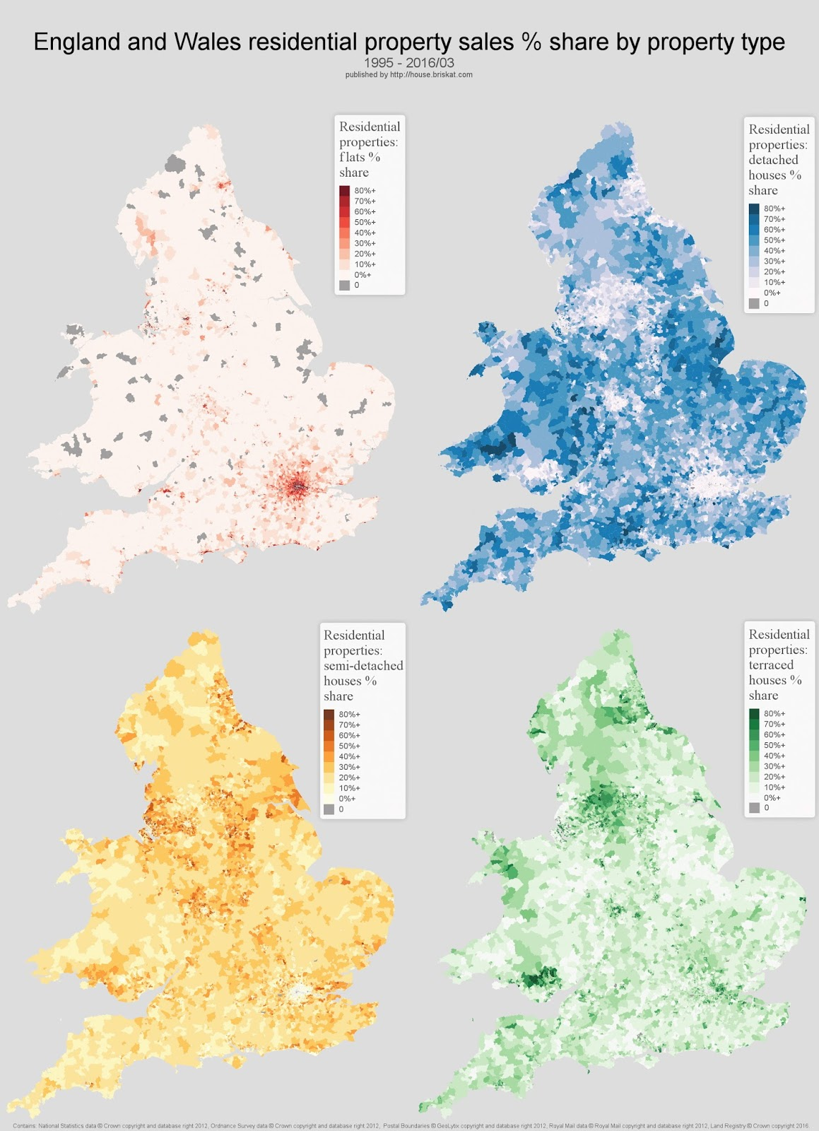 England and Wales mapped by property type