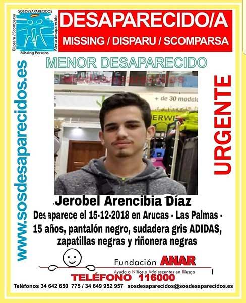 Un Menor desaparecido en Arucas, Gran Canaria, Jerobel Arencibia Díaz