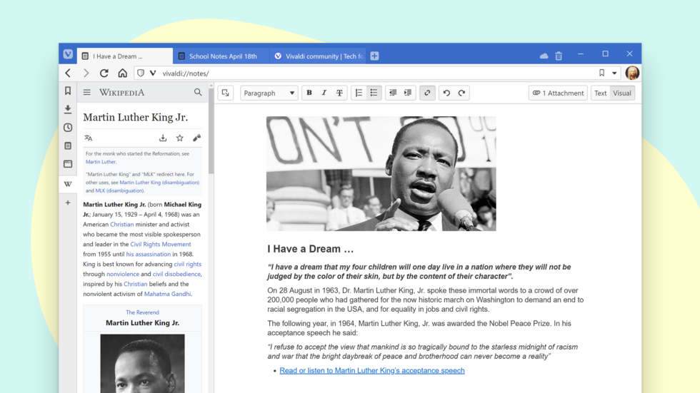 Vivaldi Browser adesso ha un Notes Manager a tutta pagina