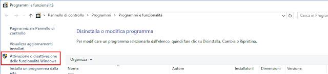 Windows, Attivazione o disattivazione delle funzionalità di Windows