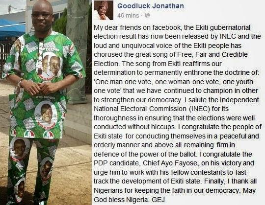 jonathan congratulates fayose