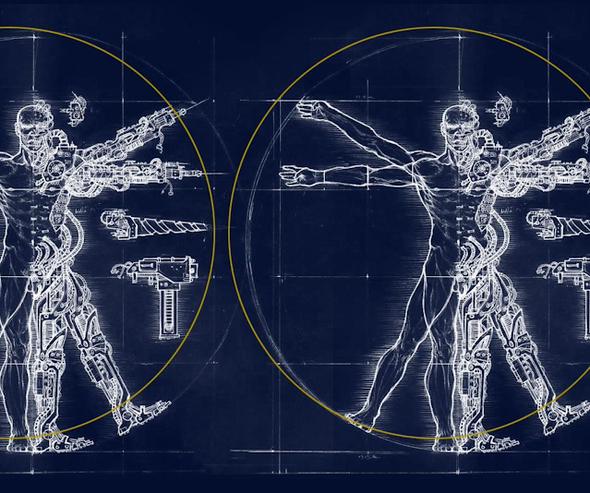 Planos de una persona mitad humano mitas robot en la forma del hombre de vitruvio