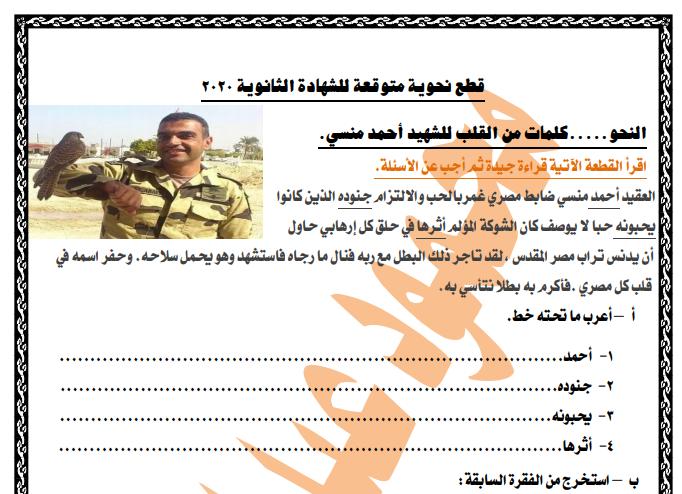 قطع نحو متوقعة فى امتحان الثانوية العامة 2020 مستر محمود عبداللطيف