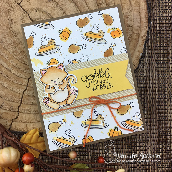 Gobble 'til you wobble card by Jennifer Jackson | Newton's Thanksgiving Stamp Set by Newton's Nook Designs #newtonsnook #handmade