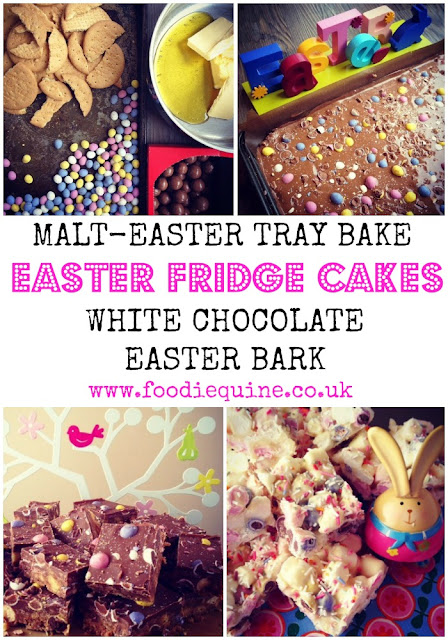 Easter Traybake Fridge Cake Recipes. White Chocolate Easter Bark and Malt-Easter Tray Bake with Mini Eggs and Maltesers. Use up those leftover Easter Eggs and Chocolate