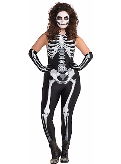 Adult Bone a Fied Skeleton Costume Plus Party City