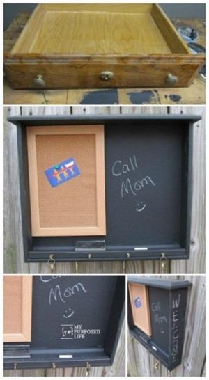 Laci bekas menjadi papan tulis atau memo board.