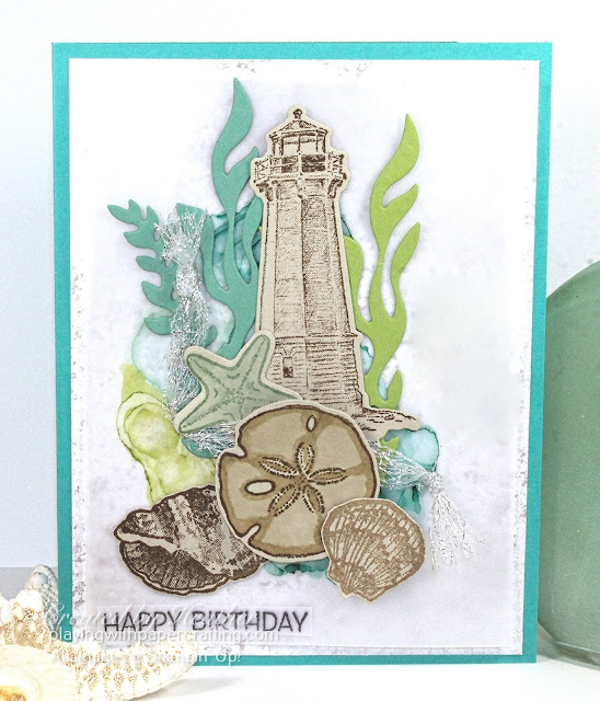 happy birthday with seashells and blended alcohol ink 2